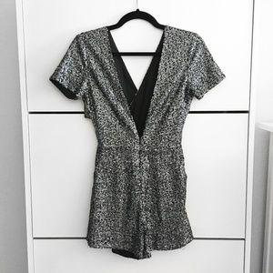 Pants - Silver Sequin V-Neck Short Sleeve Romper